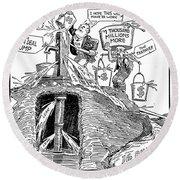 F.d.r. Cartoon, 1930s Round Beach Towel