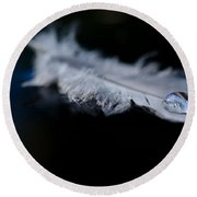 Feather With A Water Drop Round Beach Towel