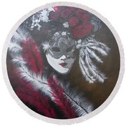 Feathered Rose Round Beach Towel