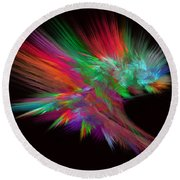 Feathery Bouquet On Black - Abstract Art Round Beach Towel