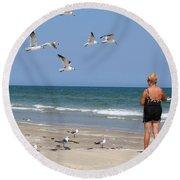 Feeding The Sea Gulls Round Beach Towel