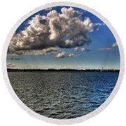 Feeling That Good Kind Of Blue Round Beach Towel