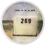 Feet And Beach Chair Round Beach Towel by Joana Kruse