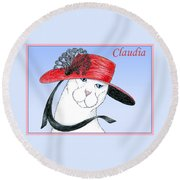 Feline Finery - Claudia Round Beach Towel