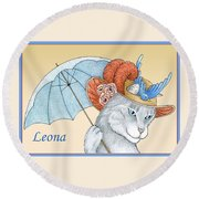Feline Finery - Leona Round Beach Towel