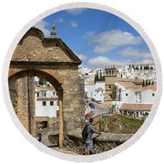 Felipe V Arch In Ronda Round Beach Towel