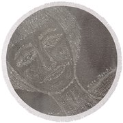 Female  Face  On  Steel  Two Round Beach Towel