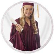 Female Graduate II Round Beach Towel