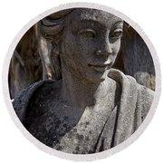Female Statue Round Beach Towel