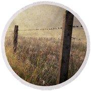 Fence And Field. Trossachs National Park. Scotland Round Beach Towel