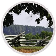 Fence At Appomattox Round Beach Towel