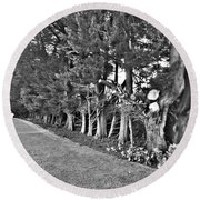 Fence Of Trees Round Beach Towel