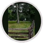 Fenced In Field Round Beach Towel