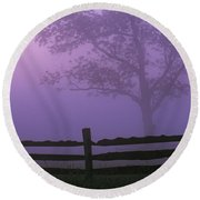Fenceline Silhouette With Tree Round Beach Towel
