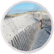 Fences Shadows And Sand Dunes Round Beach Towel by Mother Nature