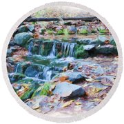 Fern Spring In Autumn Round Beach Towel