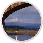 Fernbridge And The Moon Round Beach Towel