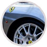 Ferrari Wheel And Emblems Round Beach Towel