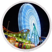 Ferris Wheel At Night Round Beach Towel
