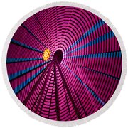 Ferris Wheel In Pink Round Beach Towel