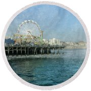 Ferris Wheel On The Santa Monica Pier Round Beach Towel