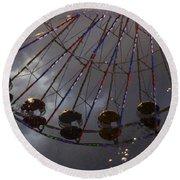Ferris Wheel Reflection Round Beach Towel