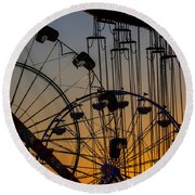 Ferris Wheels Round Beach Towel