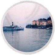 Ferry To Bellagio On Lake Como Round Beach Towel