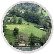 Few Houses On The Slope Of Mountain Next To Lake Lucerne Round Beach Towel