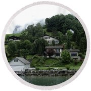 Few Houses On The Slope Of Mountain Next To Lake Lucerne In Switzerland Round Beach Towel