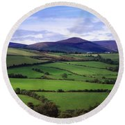 Fields From The Sugar Loaf Mountain, Co Round Beach Towel