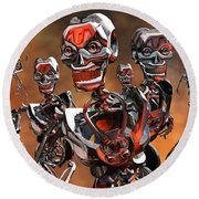 Fierce Androids Riot The City Of Tokyo Round Beach Towel
