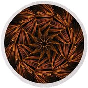 Fiery Pinwheel Round Beach Towel