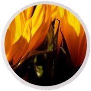 Fiery Sunflowers Round Beach Towel