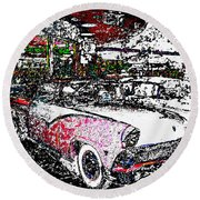 Fifties Drive In Round Beach Towel