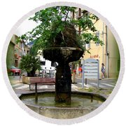 Fig Tree Fountain In Cassis Round Beach Towel