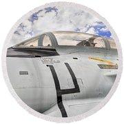 Fighter Jet Cockpit Round Beach Towel