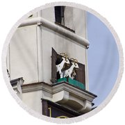 Fighting Goats Of Posnan Poland Round Beach Towel
