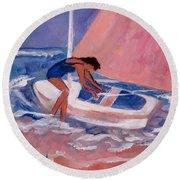 Fighting To Sail Round Beach Towel