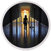 Figure In The Corridor Round Beach Towel