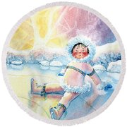 Figure Skater 10 Round Beach Towel