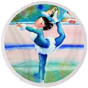 Figure Skater 19 Round Beach Towel