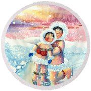 Figure Skater 7 Round Beach Towel
