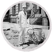 Film Still: Street Cleaner Round Beach Towel
