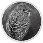 Finch Black And White Round Beach Towel