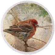 Finch Greeting Card With Verse Round Beach Towel