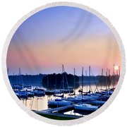Fine Sailing Morning Coming Up Round Beach Towel
