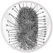 Fingerprint Diagram, 1940 Round Beach Towel