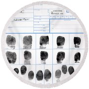 Fingerprint Identification Application Round Beach Towel