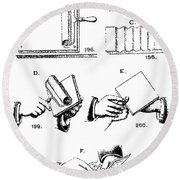 Fingerprinting Instructions, Circa 1900 Round Beach Towel by Science Source